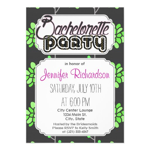 Dark Gray and Neon Lime Green Retro Flower, Floral Invitations