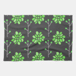 Dark Gray and Neon Lime Green Retro Flower, Floral Hand Towel