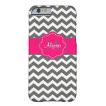 Dark Gray and Pink Chevron Personalized Phone Case iPhone 6 Case