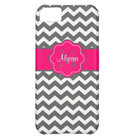 Dark Gray and Pink Chevron Personalized Phone Case iPhone 5C Cover
