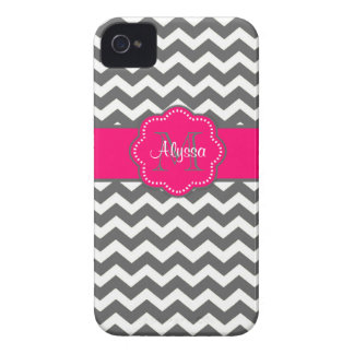 Dark Gray and Pink Chevron Personalized Phone Case