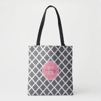 Dark Gray and Pink Moroccan Quatrefoil Monogam Tote Bag
