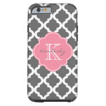 Dark Gray and Pink Moroccan Quatrefoil Print Tough iPhone 6 Case