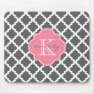 Dark Gray and Pink Moroccan Quatrefoil Print Mouse Pad