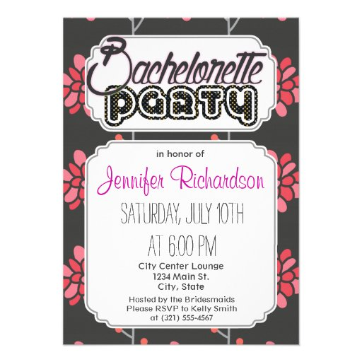 Dark Gray and Pink Retro Flower, Floral Pattern Custom Announcements
