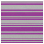 [ Thumbnail: Dark Gray and Purple Colored Lined Pattern Fabric ]