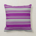 [ Thumbnail: Dark Gray and Purple Colored Lined Pattern Pillow ]
