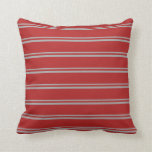 [ Thumbnail: Dark Gray and Red Colored Striped Pattern Pillow ]