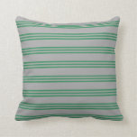 [ Thumbnail: Dark Gray and Sea Green Stripes Throw Pillow ]