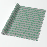 [ Thumbnail: Dark Gray and Sea Green Stripes Wrapping Paper ]