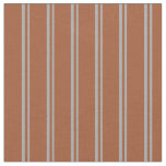[ Thumbnail: Dark Gray and Sienna Colored Lined Pattern Fabric ]