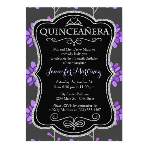 Dark Gray and Violet Purple Retro Flower, Floral Invites