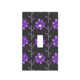 Dark Gray and Violet Purple Retro Flower, Floral Light Switch Plates