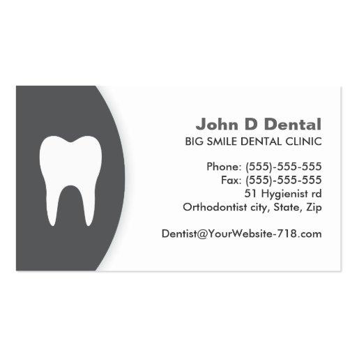 Dark gray and white dental dentist business card
