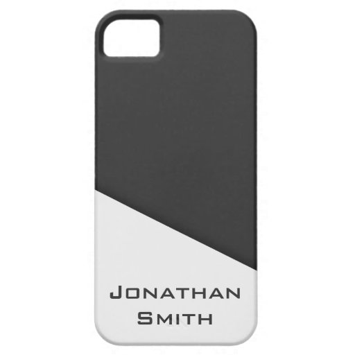Dark Gray and White Simple Personalized Men's iPhone 5 Case