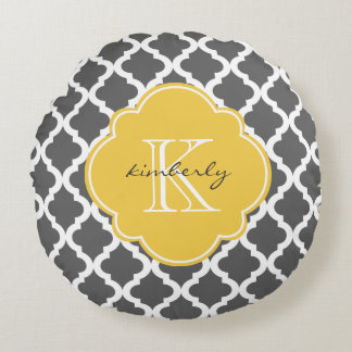 Dark Gray and Yellow Moroccan Quatrefoil Print Round Pillow