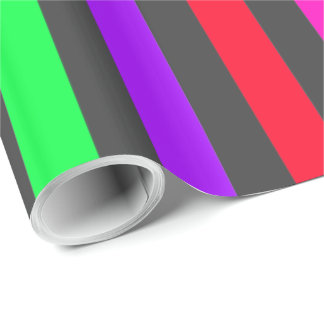 dark gray background with colorful stripes wrapping paper