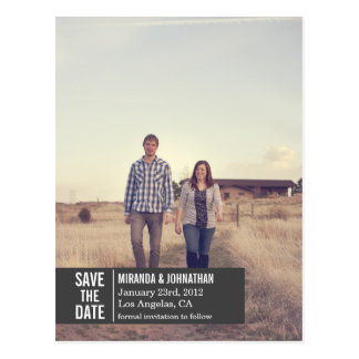 Dark Gray Banner Photo Save The Date Post Cards