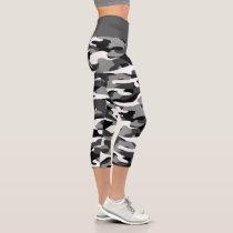 Dark Gray Black And White Camouflage Pattern Capri Leggings