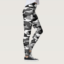 Dark Gray Black And White Camouflage Pattern Leggings