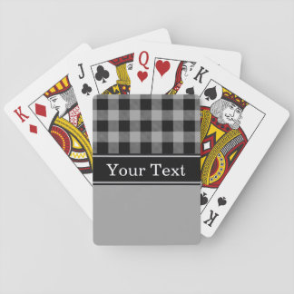 Dark Gray Black Buffalo Check Plaid CBN Monogram Playing Cards