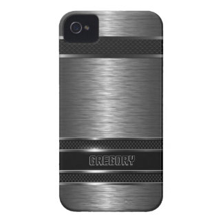 Dark Gray & Black Metallic Brushed Aluminum Look iPhone 4 Case-Mate Case