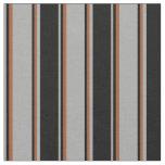[ Thumbnail: Dark Gray, Black & Sienna Striped Pattern Fabric ]