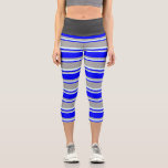 [ Thumbnail: Dark Gray, Blue, and Light Cyan Lines Leggings ]