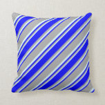 [ Thumbnail: Dark Gray, Blue, and Light Cyan Lines Throw Pillow ]