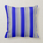 [ Thumbnail: Dark Gray, Blue, and Light Yellow Colored Stripes Throw Pillow ]