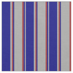 [ Thumbnail: Dark Gray, Blue & Brown Lines/Stripes Pattern Fabric ]