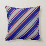 [ Thumbnail: Dark Gray, Blue & Brown Lines/Stripes Pattern Throw Pillow ]
