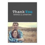 Dark Gray & Blue Photo Wedding Thank You Cards