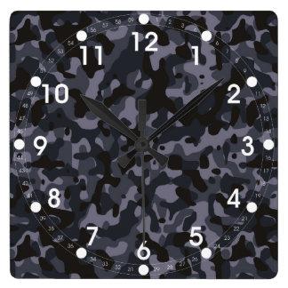 Dark Gray Camo Square Wall Clock
