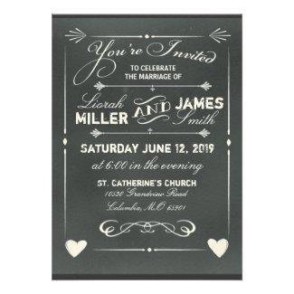 Dark Gray Chalkboard Wedding Invitation with heart