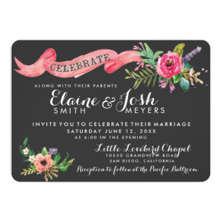 Dark Gray Chalkboard with Watercolor flowers Perso Card