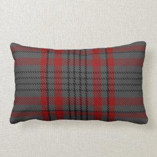 Dark Gray Charcoal Black Red Tartan Plaid Lumbar Pillow