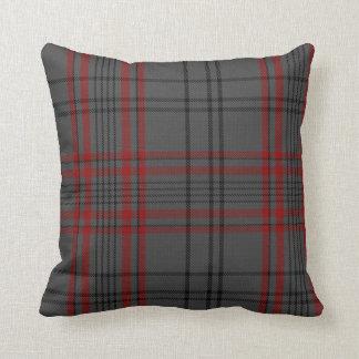 Dark Gray Charcoal Black Red Tartan Plaid Throw Pillow