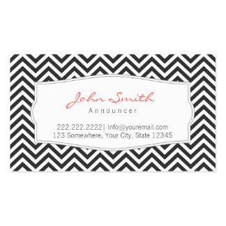 Dark Gray Chevron Stripes Announcer Business Card