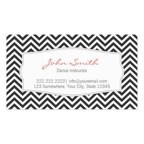 Dark Gray Chevron Stripes Dance Business Card