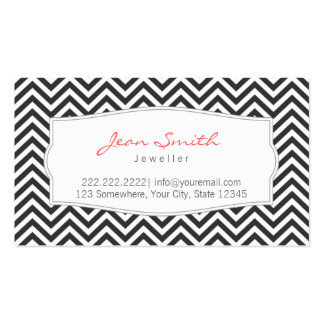 Dark Gray Chevron Stripes Jewellery Business Card