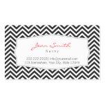 Dark Gray Chevron Stripes Nanny Business Card