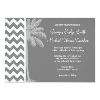 Dark Gray Chevron; Tropical Palm Invite