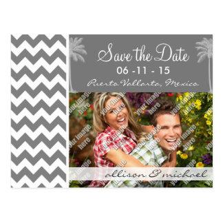 Dark Gray Chevron; Tropical Palm Post Card