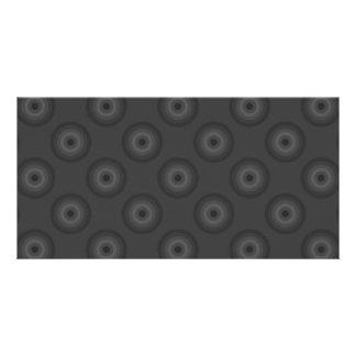 Dark Gray Circles Pattern. Personalized Photo Card