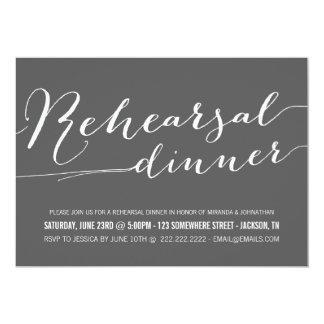 Dark Gray Classy Rehearsal Dinner Invitations