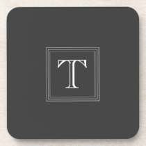 Dark Gray Custom Monogram Set of 6 Coasters