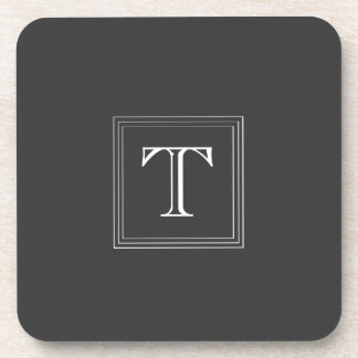 Dark Gray Custom Monogram Set of 6 Coasters