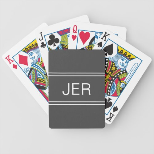 Dark Gray Custom Personalized Monogram Initial Bicycle Playing Cards
