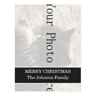 Dark Gray Design Your Photo Christmas Post cards